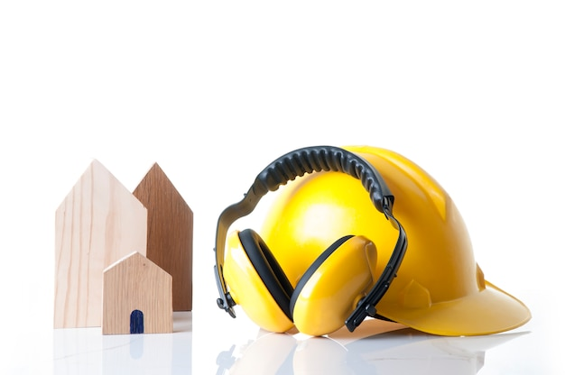 Концепция материалов безопасности дома и здания конструкции. инструменты безопасности дома строителя.