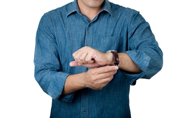 Раз концепция укомплектуйте личным составом часы в его руке на предпосылке изолята.