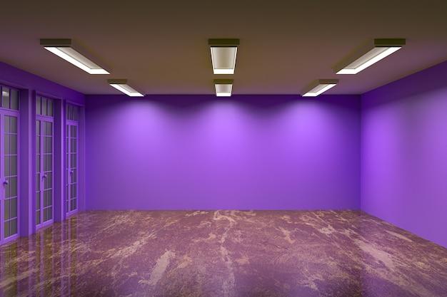 Пустая комната с фиолетовой стеной