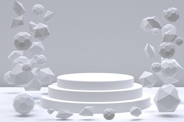 化粧品のプレゼンテーションのための灰色の表彰台最小限の抽象的な背景