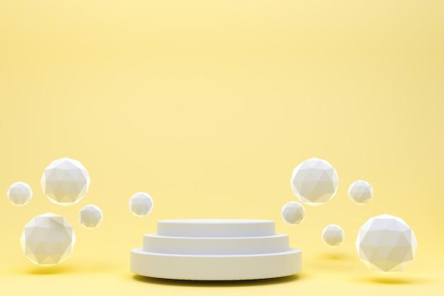 化粧品のプレゼンテーションのための白い表彰台最小限の抽象的な黄色背景