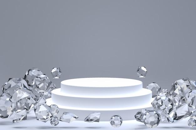 化粧品やディスプレイ製品のプレゼンテーションのための白い表彰台最小限の抽象的な背景