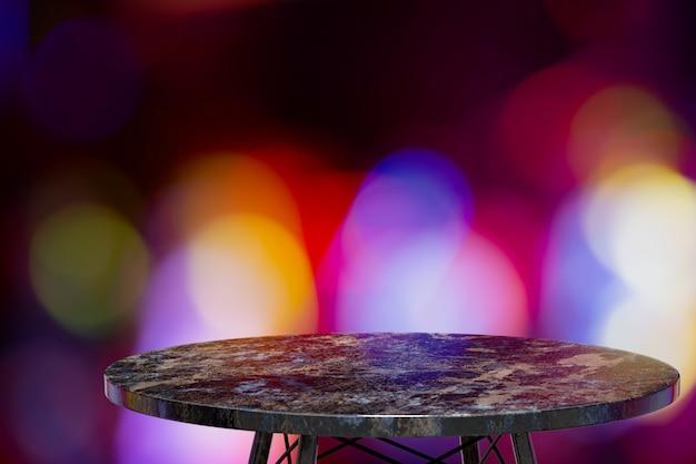 レストラン、ナイトバー、ナイトクラブの前で製品を展示するための空の大理石のテーブル