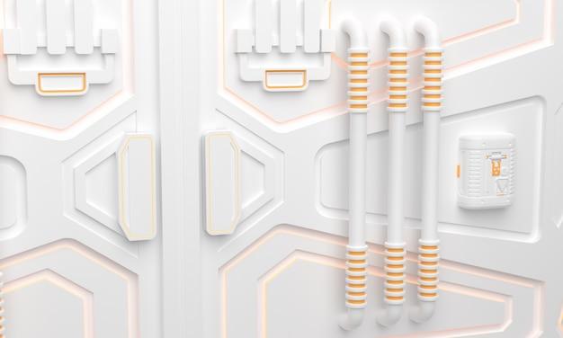Научно-фантастический гранж поврежден металлический коридор фон с подсветкой