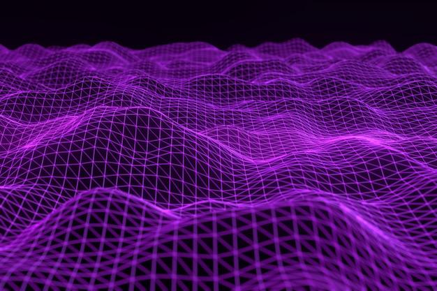デジタル風景や波と抽象的な幾何学的な背景。
