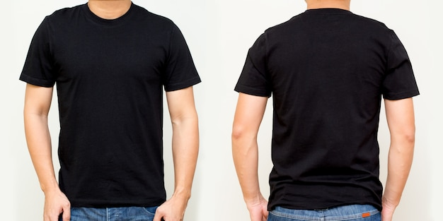 Черная футболка спереди и сзади, шаблон макета для дизайнерского принта