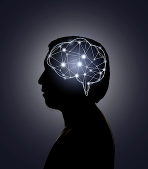 Силуэт головы человека с технологической линией мозга