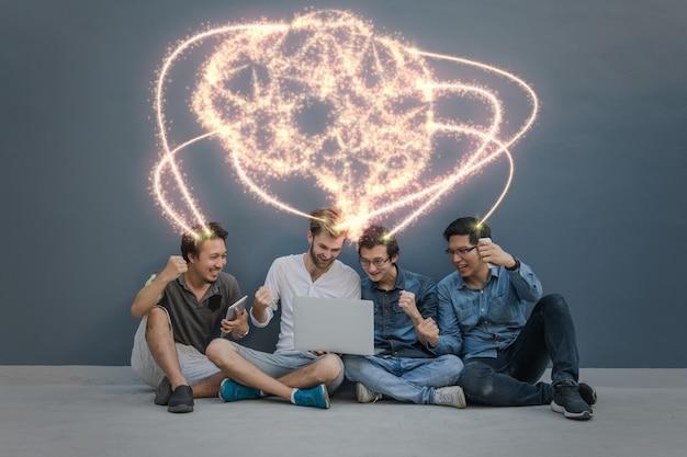 アジア人のグループに対する人工知能の脳の形の輝き