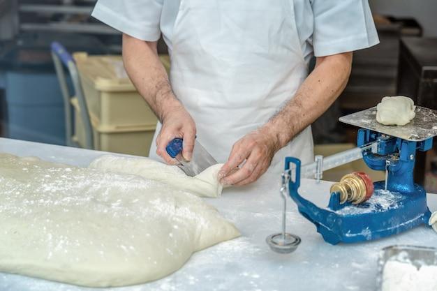 パンの小麦粉とバランスをはかり機械で切断するパンシェフの手