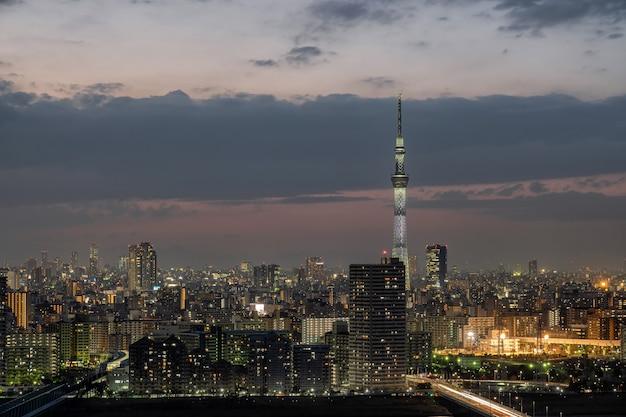 都心の街並み、日本の上の東京スカイツリーのシーン