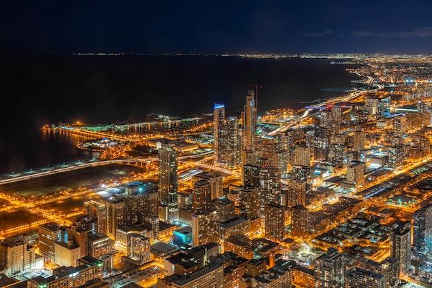 シカゴの街並みの空撮