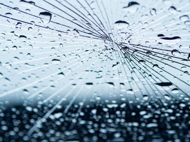 クラックミラー上の雨の水滴