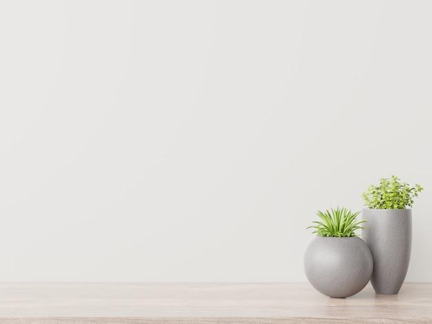 植物のモックアップと空の部屋には木製の床があります。