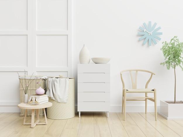 Интерьер гостиной с отделкой на пустой белой стене