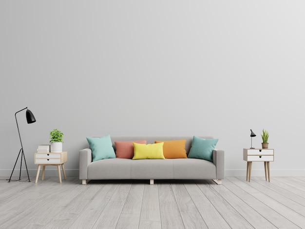 シンプルなリビングルームのインテリアにソファ付きの空のリビングルーム。