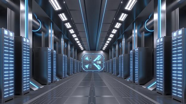 青いライトのサーバールームネットワーク。