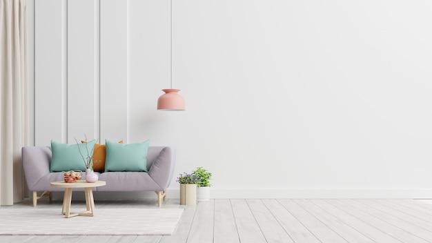 明るく居心地の良いモダンなリビングルームのインテリアには、ソファと白い壁のランプがあります。
