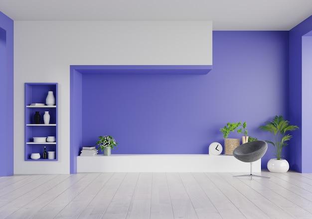 リビングルームの幻想的な青い壁にキャビネットテレビ、最小限のデザイン。