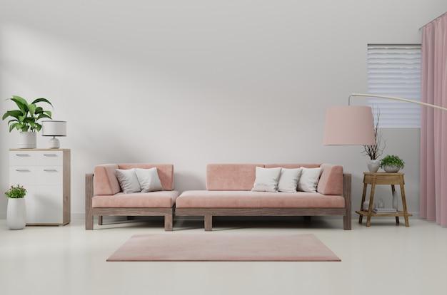 Современный интерьер гостиной с диваном и зелеными растениями, лампа, стол на живой коралловый цвет.