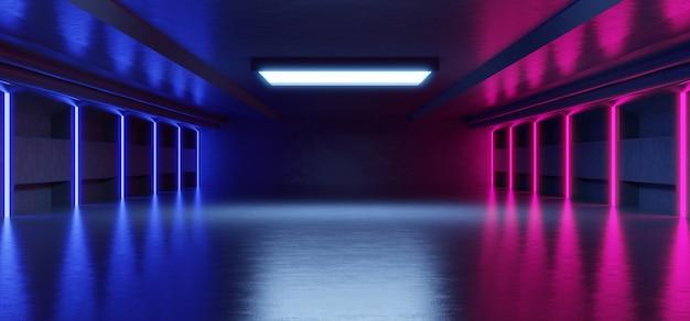 コンクリートの背景を持つ製品を配置するための黒の背景に抽象的な青とピンクのネオンの光の形。