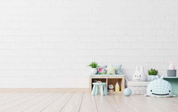 子供用プレイルームでテントとテーブルに座っている人形のモックアップ