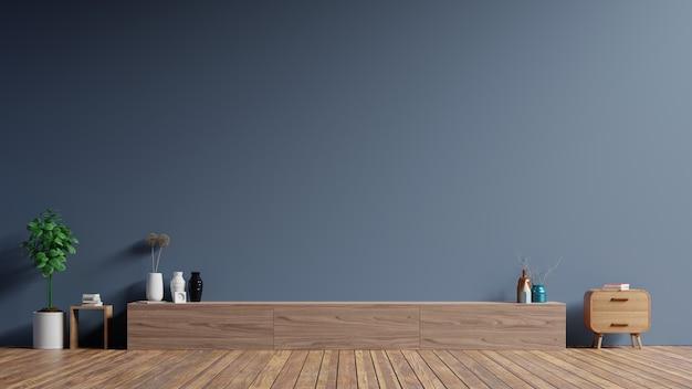 Шкаф тв в современной пустой комнате, темной стене.