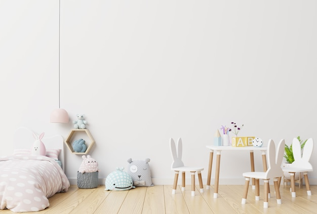 白い壁の子供部屋の壁。