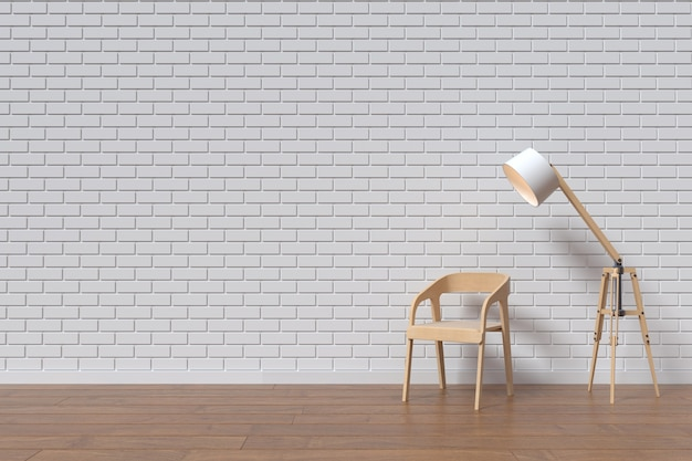 Стул с деревянной стеной и лампой