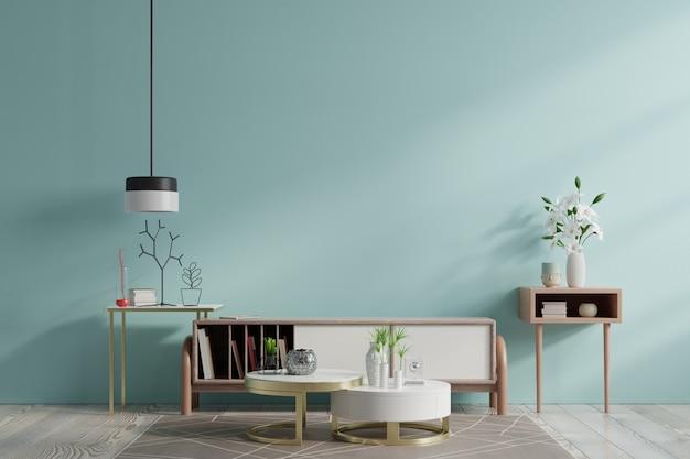 Шкафы и стенки для телевизора в гостиной, голубые стены.