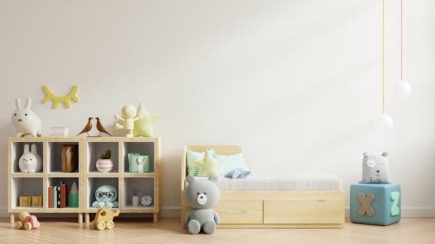白い壁の子供部屋の壁のモックアップ。