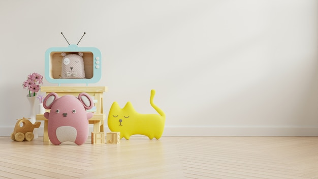 Стена модель-макета в комнате детей на стене красит белую предпосылку.