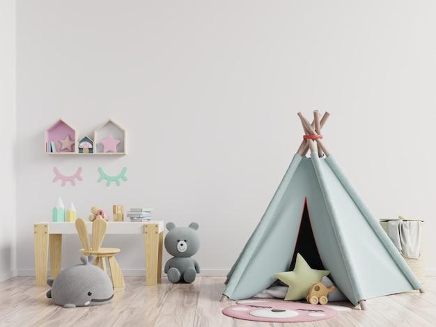 子供部屋、子供部屋、保育園のモックアップ、白い壁のポスターフレームのモックアップ。