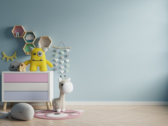 Макет стены в детской комнате на стене синего цвета фона.