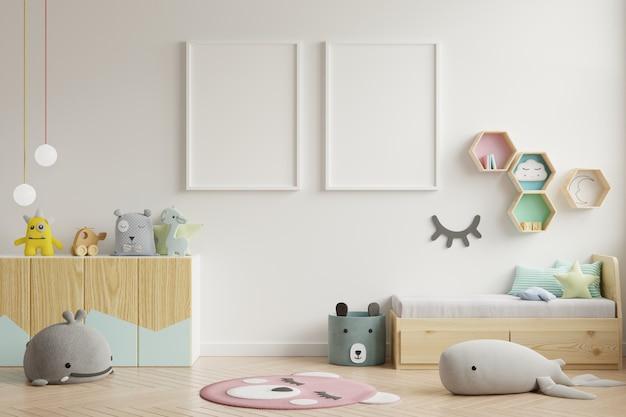 子供部屋、子供部屋、保育園のモックアップのポスターフレーム。