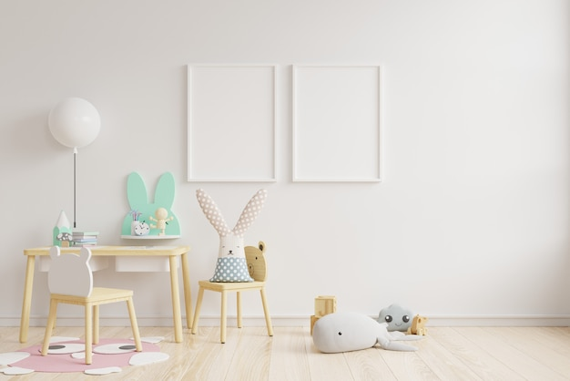 インテリアモックアップ、子供部屋、壁フレームモックアップ。