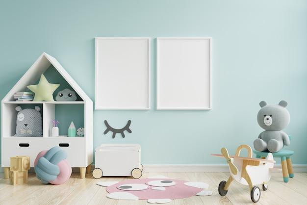子供部屋、子供部屋、保育園のモックアップ、青い壁のポスターフレームのモックアップ。
