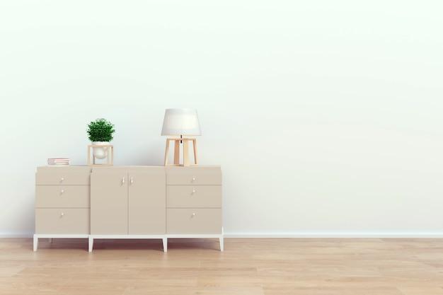 Современный интерьер гостиной с деревянным шкафом и лампой