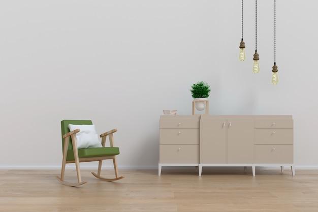 木製のキャビネットとアームチェア付きのリビングルームのモダンなインテリア