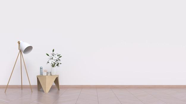 Пустая комната с белой стеной и лампой на деревянном полу