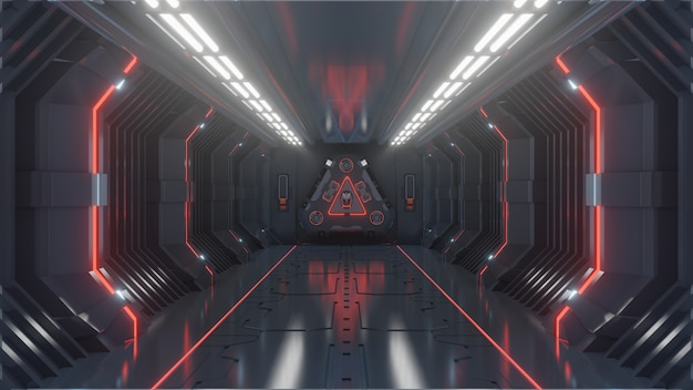 Пустая темная футуристическая научно-фантастическая комната, коридоры космического корабля красный свет