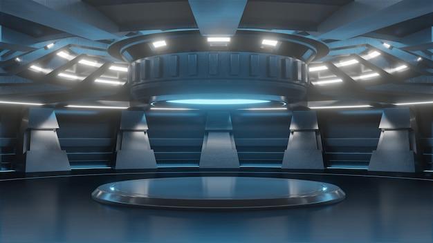 現代未来の背景技術のための未来的な空のスタンド