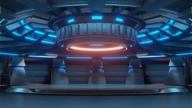空の水色のスタジオルーム未来的なサイエンスフィクション大ホールの部屋と赤のライト