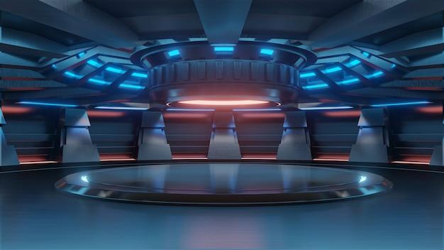 ライトブルーの空の水色のスタジオルーム未来的なサイエンスフィクション大ホールの部屋