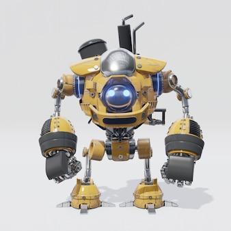 円形の黄色い本体を持つ機械式ロボットの設計