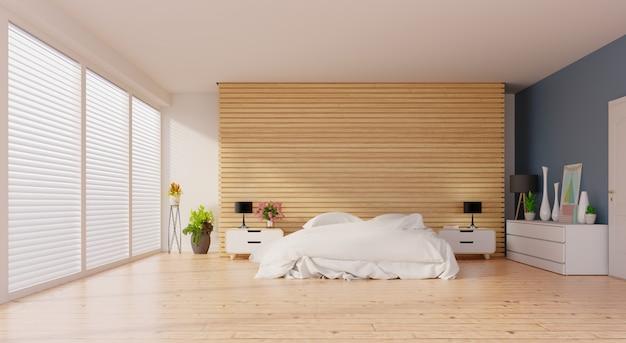 木製の床とラスの壁に寝室をモックアップのアイデア