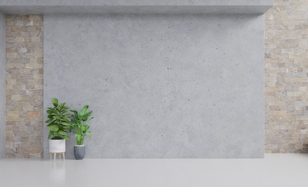 植物のモックアップと空の部屋は漆喰壁に木製の床