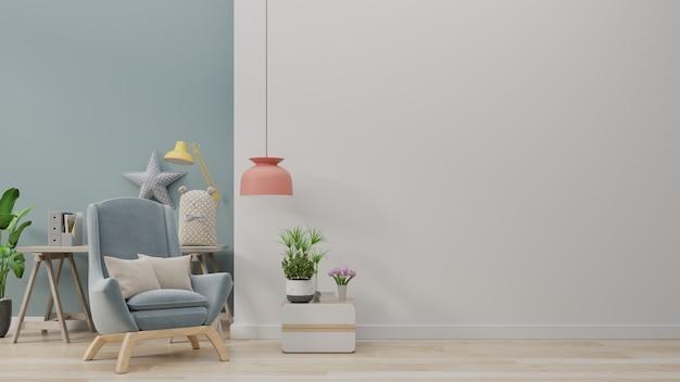 青い肘掛け椅子付きのモダンなリビングルームには、キャビネットと木製の棚があります。