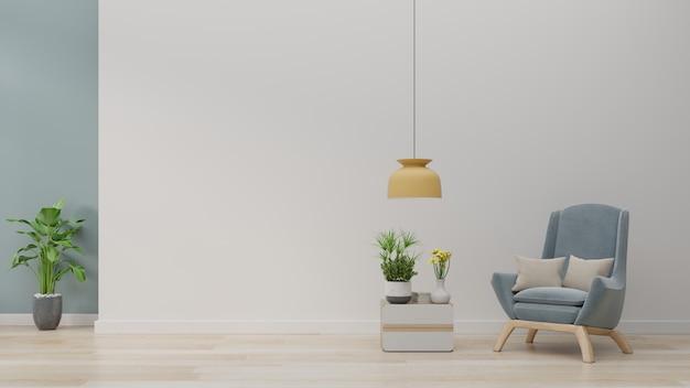 Интерьер гостиной, синие кресла на деревянном полу и белой стене.