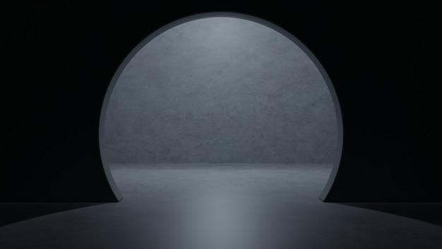 サイエンスフィクションルームモダンなダークコンクリートセメント宇宙船エレガントな地下ガレージトンネルの廊下の空きスペース。