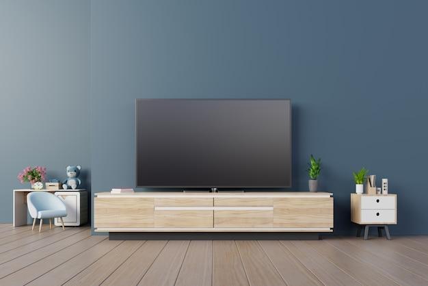 植物、棚、暗い水色の壁にランプが付いているキャビネットインテリアのモダンな部屋のテレビ。